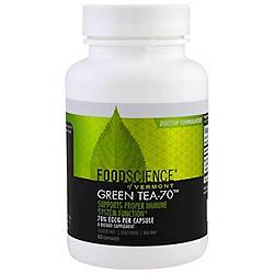 FoodScience, Green Tea-70(緑茶-70)、カフェイン抜き、60カプセル