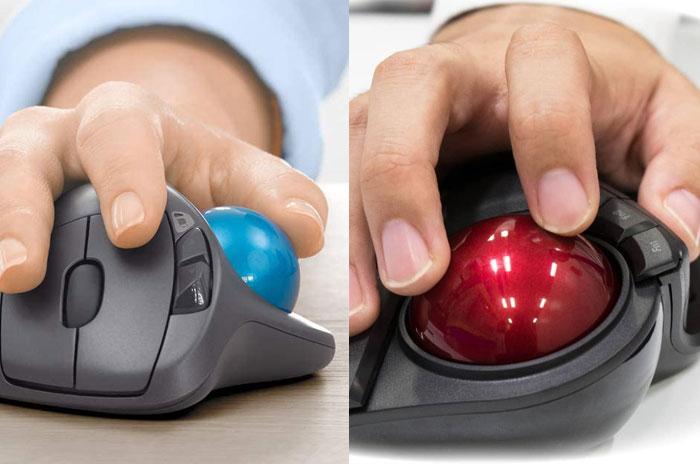 トラックボールは親指操作タイプと人差し指・中指操作タイプに分かれる