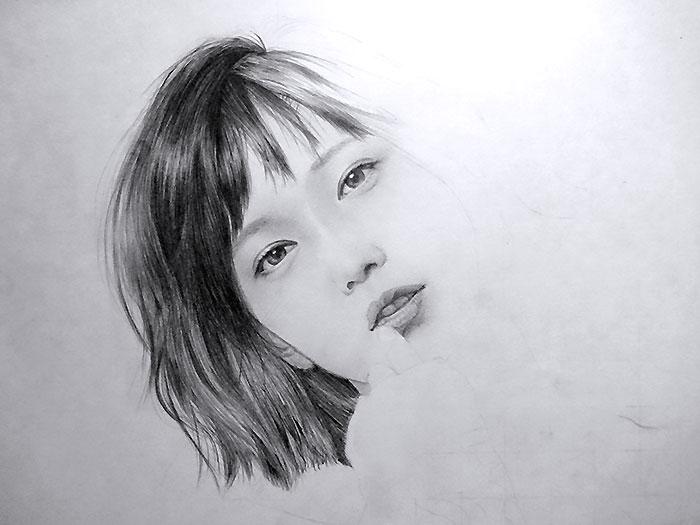 鉛筆画入門! 女性人物画の描き方と手順:イラスト