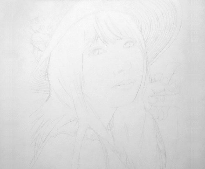 鉛筆画入門! 美少女系アイドル顔の女性人物画