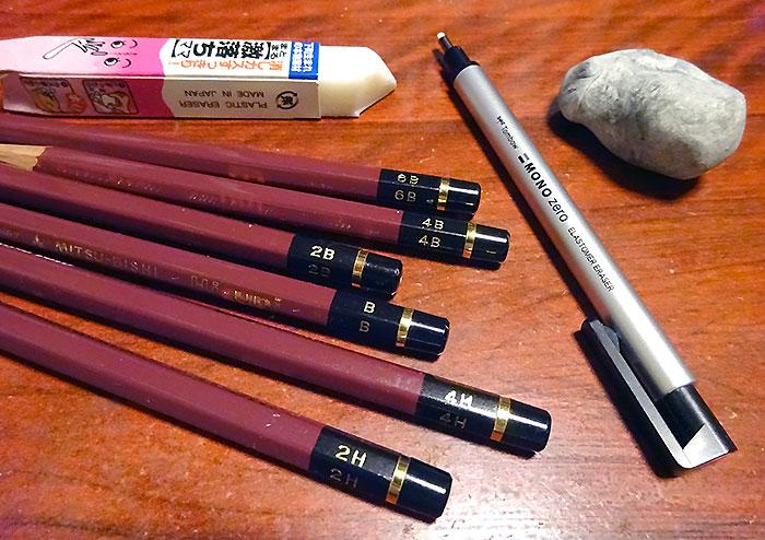 今回鉛筆画に使った道具