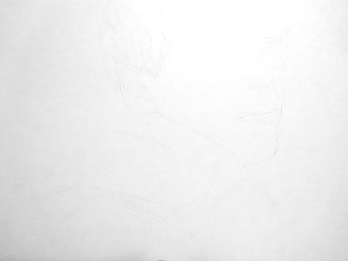 鉛筆画入門! 若い俳優顔の男性人物画