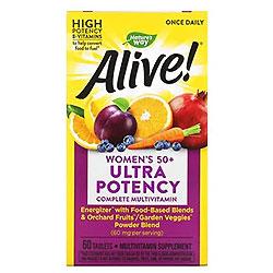 Nature's Way, Alive!(アライブ)ワンスデイリー、50歳以上の女性用総合マルチビタミン、60粒