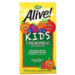 Nature's Way, Alive!(アライブ!)子ども用チュアブルマルチビタミン、オレンジ+ベリーフルーツ味、チュアブルタブレット120粒